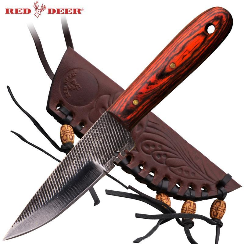 Red Rose Wood Handle Patch Knife w/ case